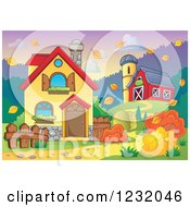Clipart Of A Farmhouse With A Barn And Silo In Autumn Royalty Free Vector Illustration