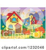 Farmhouse With A Barn And Silo In Autumn