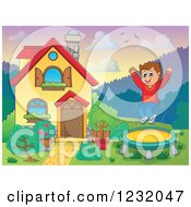 Clipart Of A Boy Jumping On A Trampoline In A Yard Royalty Free Vector Illustration