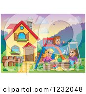 Clipart Of Happy Children Playing On A Swing Slide And In A Sandbox In A Yard By A Home Royalty Free Vector Illustration