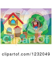 Clipart Of Kids Playing In A Tree House In A Homes Front Yard Royalty Free Vector Illustration by visekart