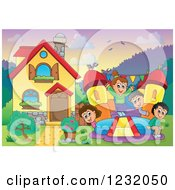 Clipart Of Happy Children Playing On A Bouncy House Castle In A Homes Front Yard Royalty Free Vector Illustration by visekart
