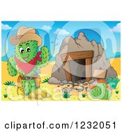 Clipart Of A Cowboy Cactus By A Mining Cave In A Desert Royalty Free Vector Illustration by visekart