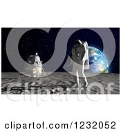 3d Astronaut Walking On The Moon With Earth On The Horizon