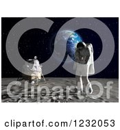 Clipart Of A 3d Astronaut Walking On The Moon With Earth In The Background Royalty Free Illustration by Mopic