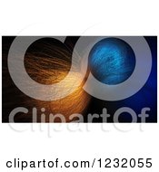 3d Chaotic Fiber Optics Structure In Blue And Orange