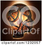 Clipart Of A 3d Head Made Of Gear Cog Wheels Royalty Free Illustration