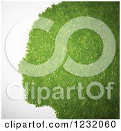 Clipart Of 3d Green Leaves Forming A Profiled Face Royalty Free Illustration