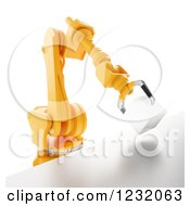 Clipart Of A 3d Assembly Robotic Arm Holding A Box On White Royalty Free Illustration