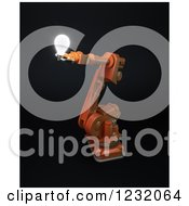 Clipart Of A 3d Assembly Robotic Arm Holding A Light Bulb On Black Royalty Free Illustration