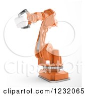 Clipart Of A 3d Assembly Robotic Arm Holding A Cube On White Royalty Free Illustration