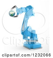 Clipart Of A 3d Assembly Robotic Arm Holding Planet Earth On White Royalty Free Illustration
