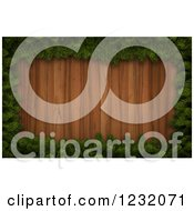 Clipart Of A 3d Christmas Border Of Pin Boughs Framing Wood Royalty Free Illustration