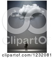 Clipart Of A 3d Businessman Under A Cloud And Rays Royalty Free Illustration