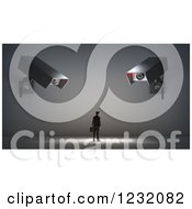 Clipart Of A 3d Businessman Under Giant Video Surveillance Cameras Royalty Free Illustration