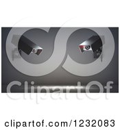 Clipart Of 3d Giant Video Surveillance Cameras Royalty Free Illustration