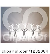 Clipart Of A 3d Group Of People Holding Their Arms Up In Worship Around Light Royalty Free Illustration by Mopic