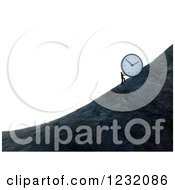Clipart Of A 3d Man Pushing A Giant Clock Up A Mountain Side Over White Royalty Free Illustration by Mopic