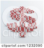 Clipart Of A 3d Dollar Symbol Made Of Pills On Shading Royalty Free Illustration by Mopic