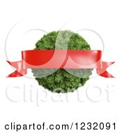 3d Red Ribbon Banner Over A Christmas Pine Bauble On White
