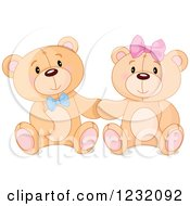 Clipart Of A Cute Teddy Bear Couple Sitting And Holding Hands Royalty Free Vector Illustration