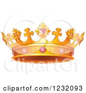 Clipart Of A Golden Crown With Pink Gems Royalty Free Vector Illustration