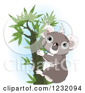 Clipart Of A Happy Koala In A Tree Over Blue Royalty Free Vector Illustration
