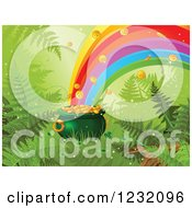 Clipart Of A St Patricks Day Pot Of Gold With Ferns At The End Of A Rainbow Royalty Free Vector Illustration