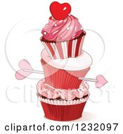 Clipart Of Cupids Arrow Through A Stack Of Valentine Cupcakes Royalty Free Vector Illustration