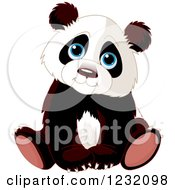 Clipart Of A Cute Panda Cub Sitting Royalty Free Vector Illustration