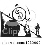 Woodcut Black And White Man Pushing A Dollar Currency Boulder Up A Stock Market Plank