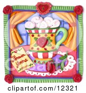 Clay Sculpture Clipart Forever Yours Rose And Coffee Scene Royalty Free 3d Illustration