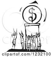 Clipart Of A Woodcut Black And White Crowd Worshipping The Dollar Royalty Free Vector Illustration