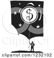 Clipart Of A Woodcut Businessman With A Dollar Coin Balloon Over Clouds And Stars Royalty Free Vector Illustration