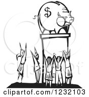 Woodcut Black And White Crowd Worshipping A Piggy Bank With A Dollar Symbol