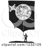 Woodcut Businessman With A Moon And Stars Balloon Over Clouds And Stars