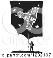 Clipart Of A Woodcut Businessman With A Soyuz Balloon Over Clouds And Stars Royalty Free Vector Illustration