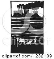 Clipart Of A Woodcut Plowing Farmer Near A Factory Royalty Free Vector Illustration