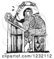 Clipart Of A Woodcut Monk Scribe In Black And White Royalty Free Vector Illustration