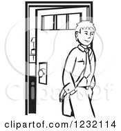 Clipart Of A Woodcut Businessman Leaving To Go To Work In Black And White Royalty Free Vector Illustration