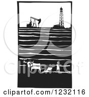 Clipart Of A Woodcut Plowing Farmer Near An Oil Field Royalty Free Vector Illustration