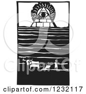 Woodcut Plowing Farmer Near A Masonic Eye Of Providence