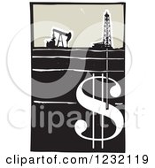 Clipart Of A Woodcut Oil Rig And Drilling For A Money Dollar Symbol Royalty Free Vector Illustration by xunantunich