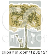 Clipart Of A Woodcut Girl Chopping A Money Tree Down Royalty Free Vector Illustration