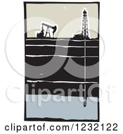 Clipart Of A Woodcut Oil Rig And Fracking Drill Royalty Free Vector Illustration