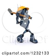 Poster, Art Print Of 3d Blue Android Construction Robot Demolishing With A Sledgehammer