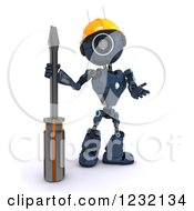 Clipart Of A 3d Blue Android Robot With A Screwdriver Royalty Free Illustration