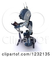 Clipart Of A 3d Android Robot Exercising On A Stationary Gym Bike Royalty Free Illustration