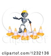 Clipart Of A 3d Blue Android Construction Robot With Cones And A Pickaxe Royalty Free Illustration