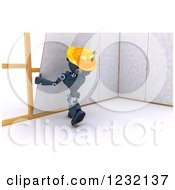 Clipart Of A 3d Blue Android Construction Robot Hanging Drywall Royalty Free Illustration